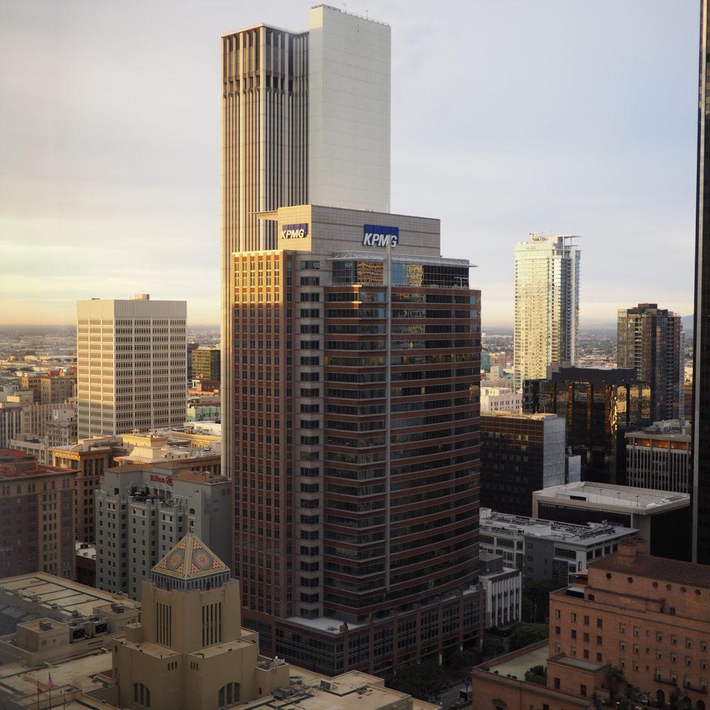 Vu de l'hotel Westin Bonaventure lors de notre voyage à Los Angeles